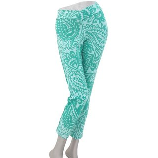 Superb comfort! Paisley print skinny straight stretch long pants <Green>