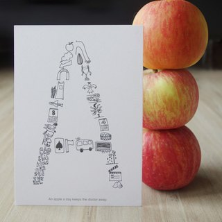AZ English alphabet creative graffiti postcard -A