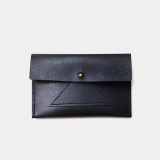 [Seaweed rice ball lunch box] leather business card holder leather card holder leisure card holder black stitching coin purse