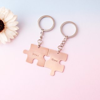 Minimalist Sweet Honey Patchwork with Red Copper Key Ring Customized Hand Knock Alphabet Lovers Memorial Lovers