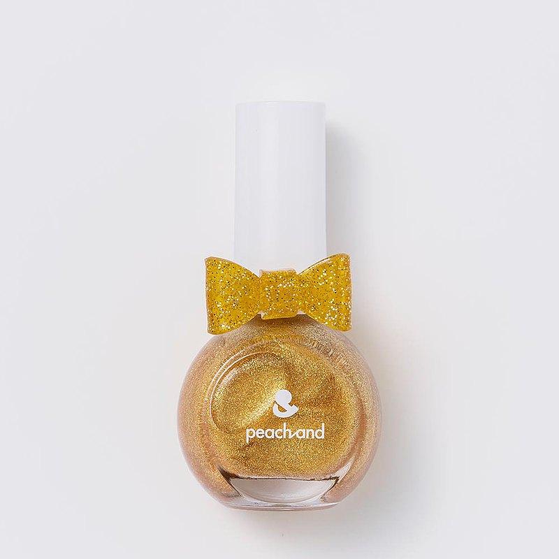 【peachand】兒童安全水溶性蝴蝶結指甲油(附戒指)長髮公主魔法金