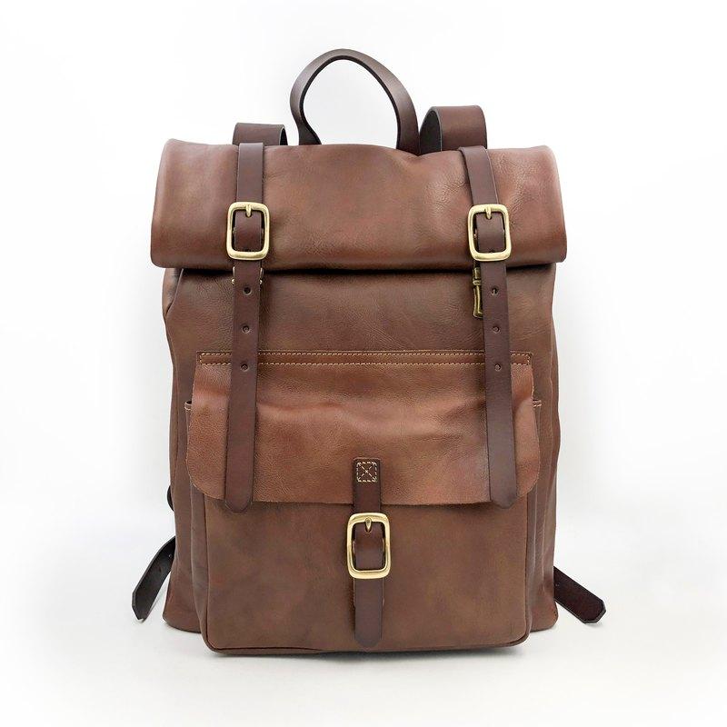 手工植鞣皮革-捲式後背包
