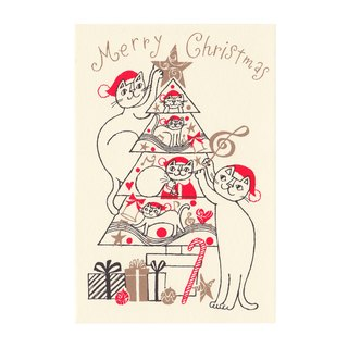 "Okabe Tetsuro Cat Christmas Card ""Full of Happiness, Merry Christmas!"""