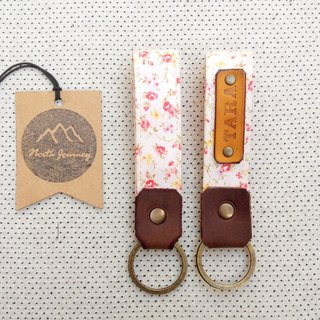 Pink Floral ,Personalized Fabric Fob Leather Key Chain,Custom Keychain,Stamped Gift For Her