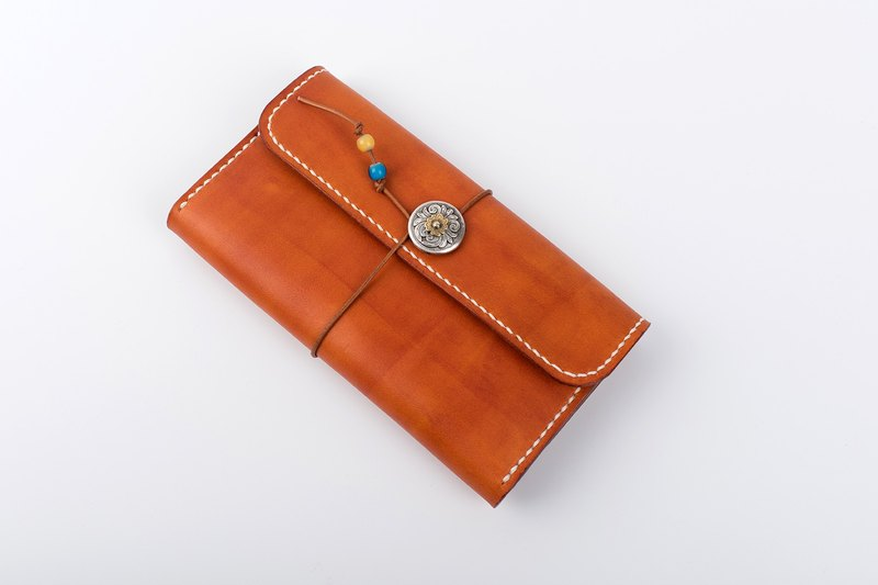 [Tangent Pie] Handmade leather winding rope Tang grass three fold long retro wallet clutch bag unisex