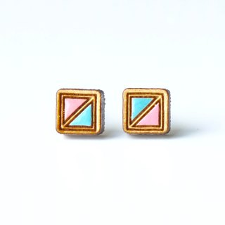 Painted wood earrings-Square (pink)