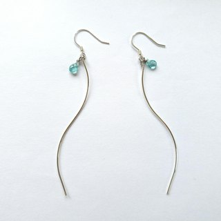 Apatite, Water wave, Sterling silver earring