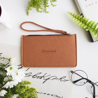 Leyang・Gauisus-Wool felt storage bag/Mobile phone bag-Powder orange (small)