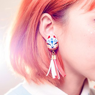Japanese Shrine Wind Earrings--Fox の Secret Fox Mask - White