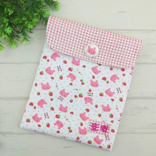Strawberry rabbit. Diaper bag / clothing storage bag (free embroidered name)