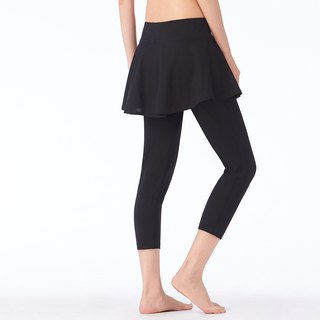 [MACACA] Natural Convection Cool Skin Skirt Cropped Pants - ASG6381 Black