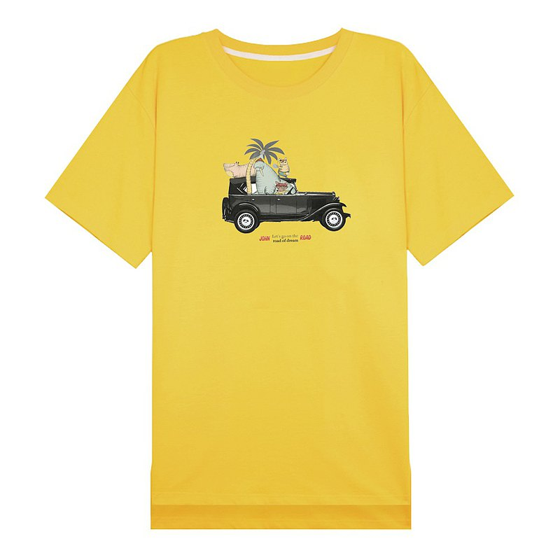 Travel by car, John Rainbow, oversize, go out at home, dual-use loose T-shirt skirt, yellow big T-shirt