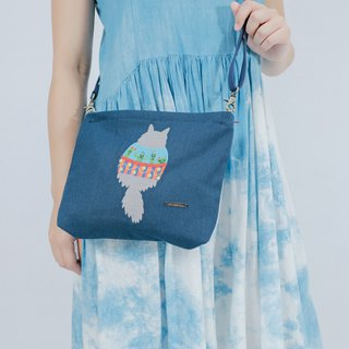 Cotton Canvas Denim Embroidery Across-Body Bag - Fat Cat With Family Shirt