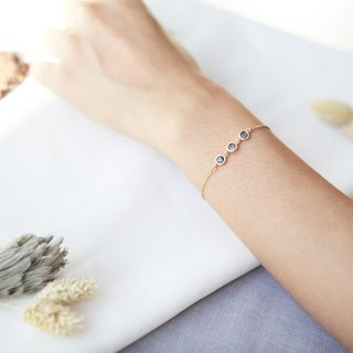 Three Little Beans 14kGF Bracelet - Blue