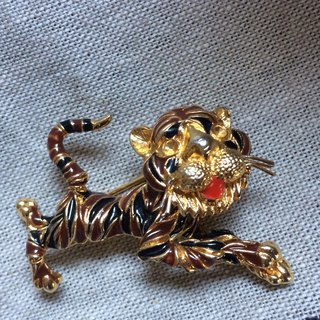 D'ORLAN Antique Tiger Brooch