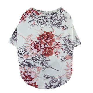 Floral Printed Raglan Sleeves Cotton/Spandex Jersey Dog Top T-shirt Dog Apparel