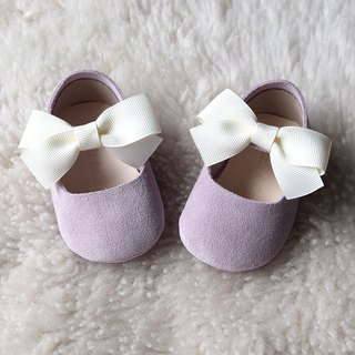 Red Baby Girl Shoes with White Bow, Baby Moccasins, Baby Booties