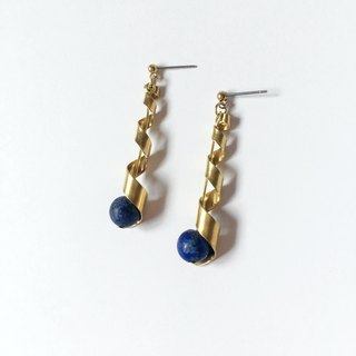 Brilliant ◆ [gravel series] Mercury natural stone lapis lazuli surface sand brass twisted ribbon earrings ear clip ear acupuncture