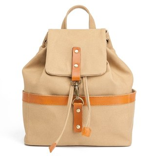 Bucket backpack with drawstring top in water resistant canvas and leather Khaki