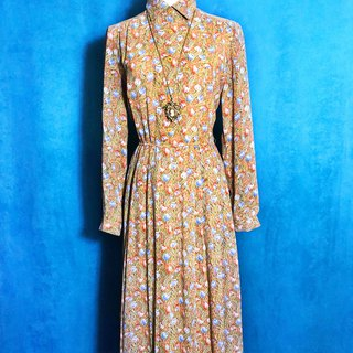Tulip Chiffon Long Sleeve Vintage Dress / Foreign Return to VINTAGE
