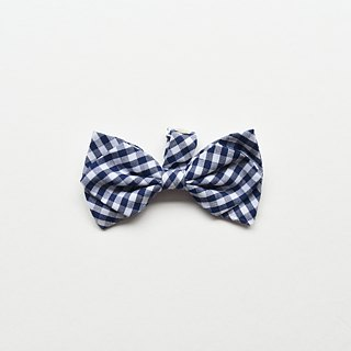 Handmade Plaid Pet Dog Collar Accessory - Bowtie - Blue & White Grid【ZAZAZOO】