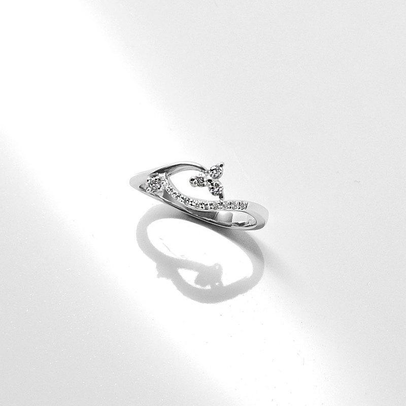 18K金鑽戒 750手工製作 天然鑽石 優雅-風的旋律