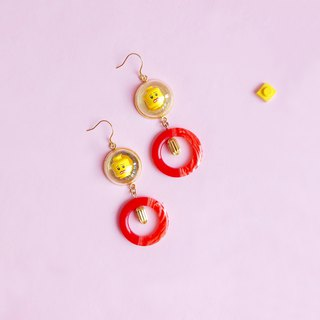 Cute  silver red Yellow Emoji LEGO Earring