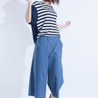Aine ann / simple and comfortable cool imitation denim pants - light blue