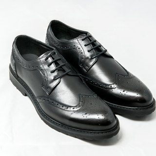 Hand-colored calfskin leather wing pattern carved Derby shoes leather shoes men's shoes - Black - Free Shipping - E1A14-99