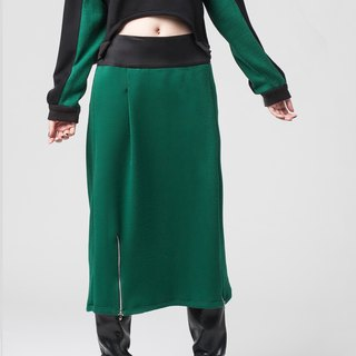 [Skirt] double pull long cotton skirt _ green