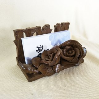 Black pottery Rose Business Card Holder