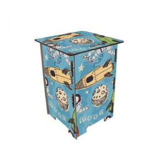 [Free shipping] Germany Werkhaus color printing classic wooden stool with storage box - space adventure