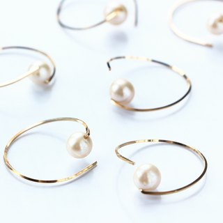 14kgf- twist hoop pearl pierced earrings
