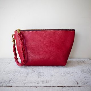 Italian leather Nume leather clutch pouch barco M Scarlet
