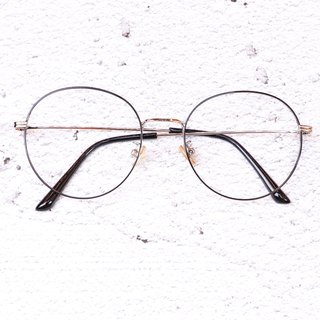 Retro Round Frame Metal Silver Black Fine Frame Frame Glasses Optical Safety Lens Nano Blue Lens