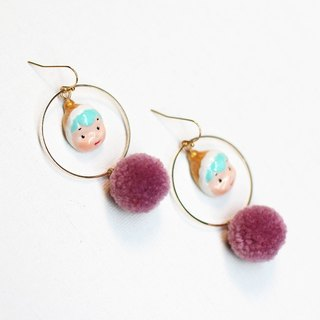 paramecium Fez [Kurt] Stone Sculpture clay earrings handmade original design Funny cute fur ball