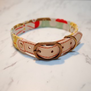 Dog collar L red and yellow forest little irregular box of Japanese cotton tanned leather can be on the rope can be added to buy the tag attached bell