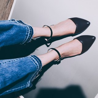 Elegant everyday shoes! inverted V-slim thin ankle strap shoes black blue full leather MIT pre-ordered goods
