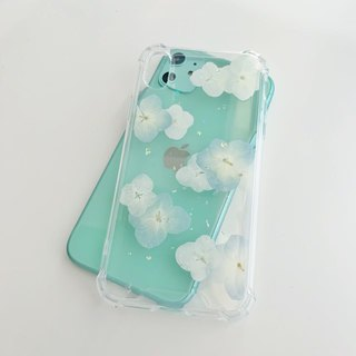 Hydrangea Rain:: Fresh and pure white dry flower real flower phone case