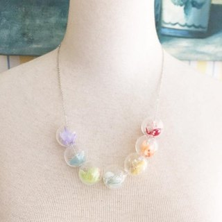 Rainbow Necklace Preserved Flowers Glass Ball Birthday Bridal Shower Gifts