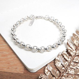 Classic thick circle bracelet silver white 925 sterling silver men's bracelet