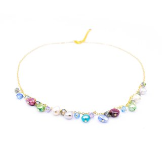Pamycarie ZINNIA Gold-plated 925 Silver Pearl Necklace Pink/Blue