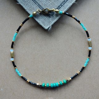 ~ Rice + bear ~ Bosnian turquoise brass & natural stone & Japanese bead anklet / anklet