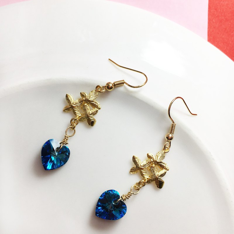 Can change clip - crystal drop earrings - Heart of the sea