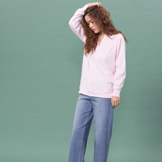 Organic cotton shirt long version V-neck long sleeve / pink (woman / woman)