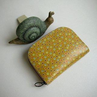 Colorful beads bubble tarpaulin - citrus yellow - short clip / wallet / coin purse / gift
