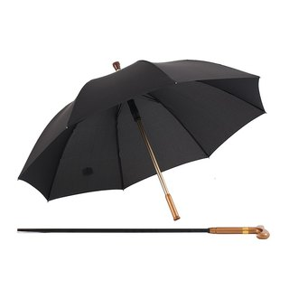 [German kobold] UV-resistant double umbrella lightweight open - Ergonomic handle - Non-slip anti-wind cane umbrella - black stone