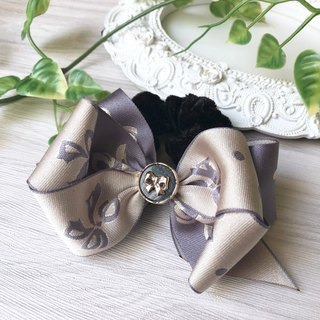No lining bow large intestine ring / khaki + gray