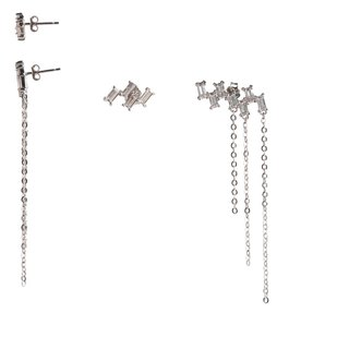 Shining ladder asymmetric tassel earrings