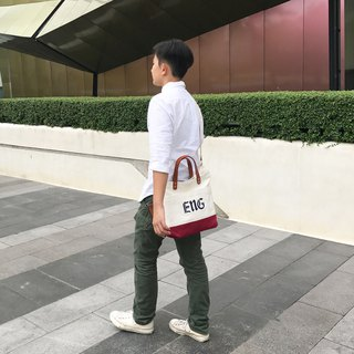 Everyday Canvas bag / White vs Red